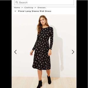 Loft Floral Long sleeve Midi dress